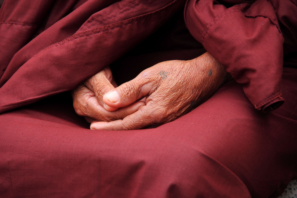 hands in meditation